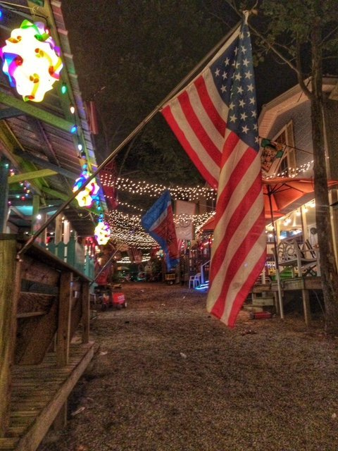 American Flag on Porch at Neshoba County Fair