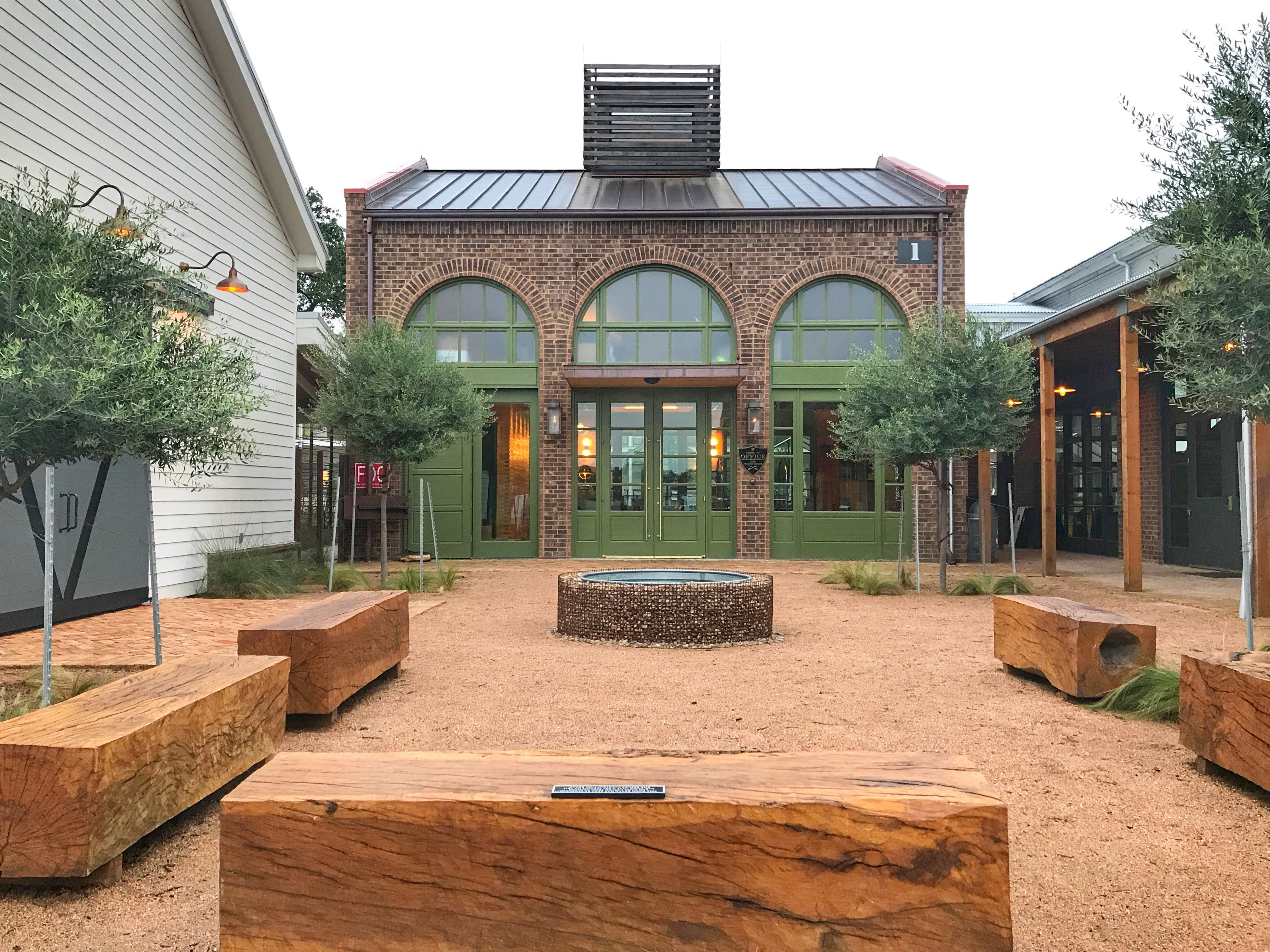 College Station's Cavalry Court courtyard by front desk