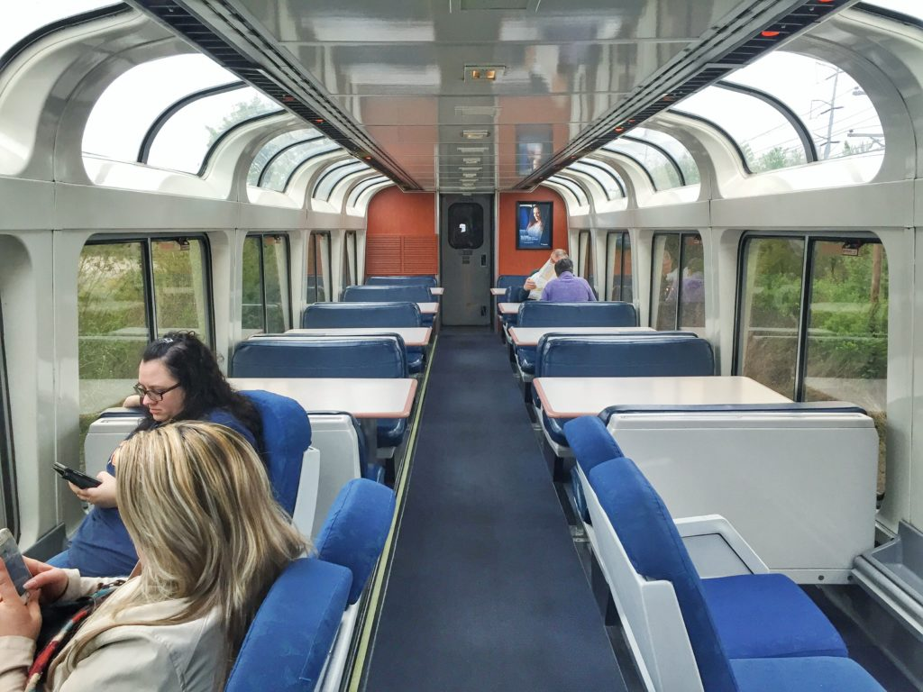 Sightseer Lounge on Amtrak Sunset Limited Train