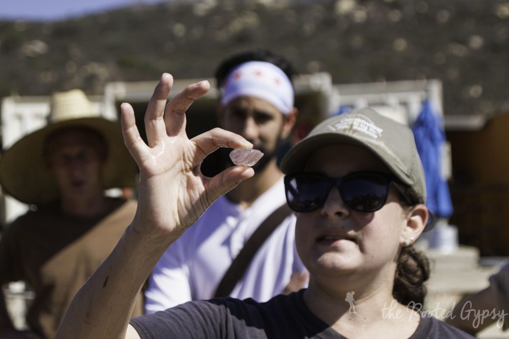 Janie showing diggers what gems are at Oceanview mine San Diego California