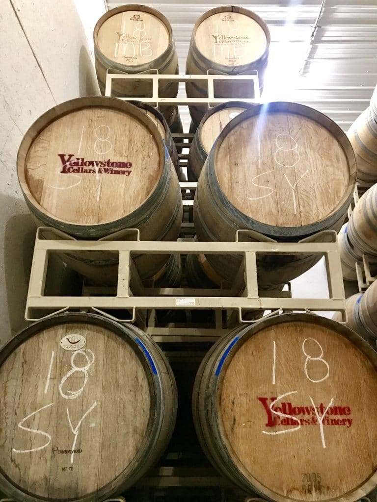 The cellar room at Yellowstone Cellars & Winery