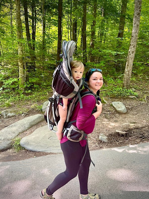 mom and baby hiking in the Great Smoky Mountains