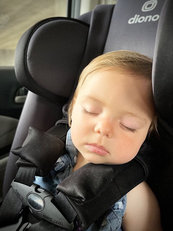 baby sleeping while driving through Cade's Cove